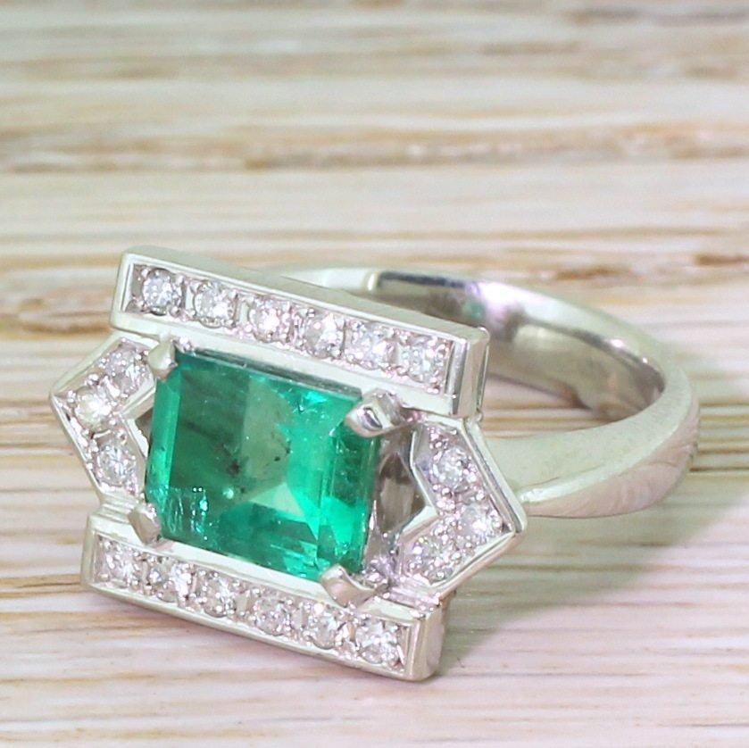 late 20th century 174 carat emerald 038 diamond ring circa 1965