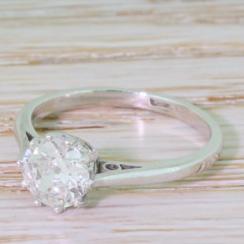 art deco 085 carat old cut diamond engagement ring circa 1930