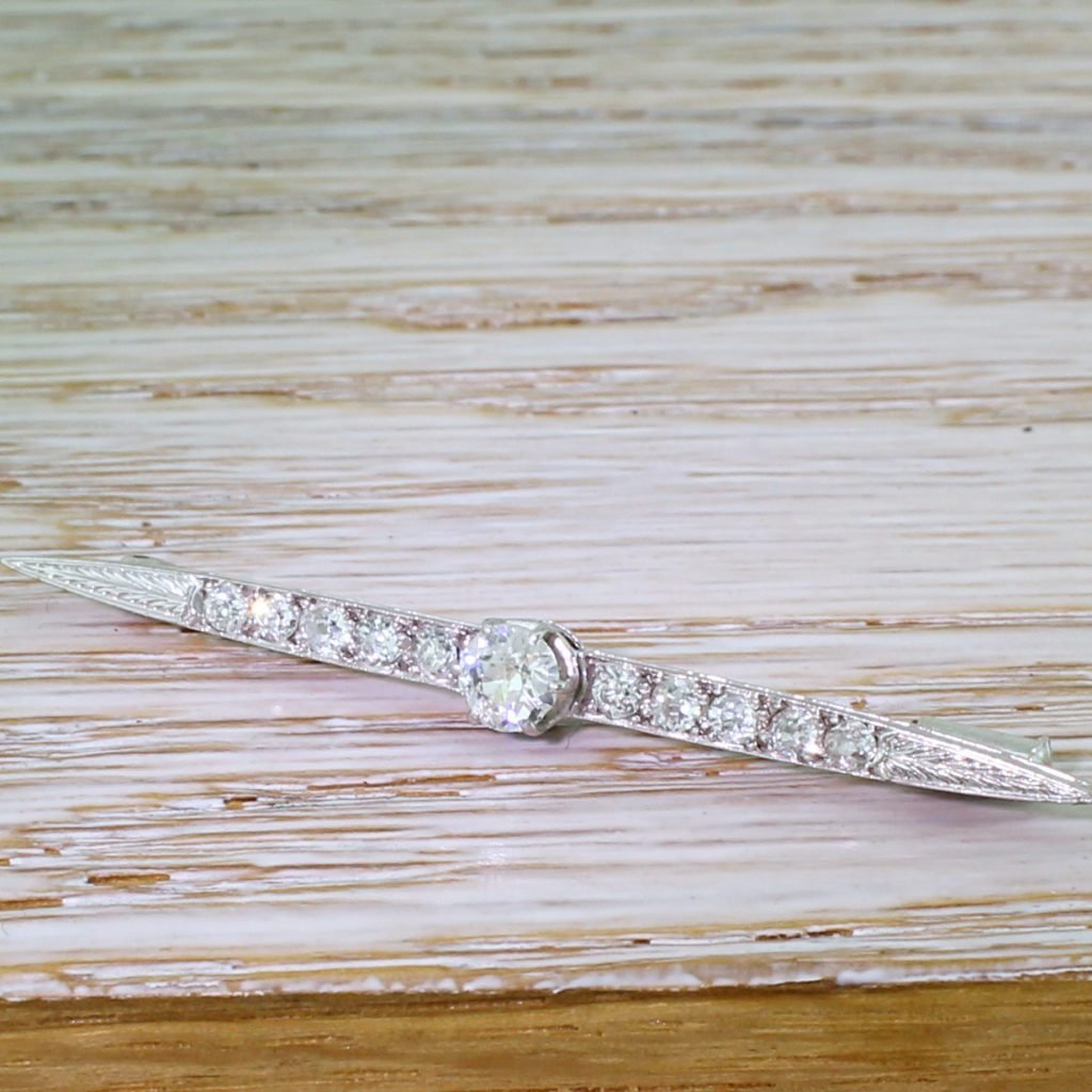 art deco 103 carat old cut diamond pin brooch circa 1920