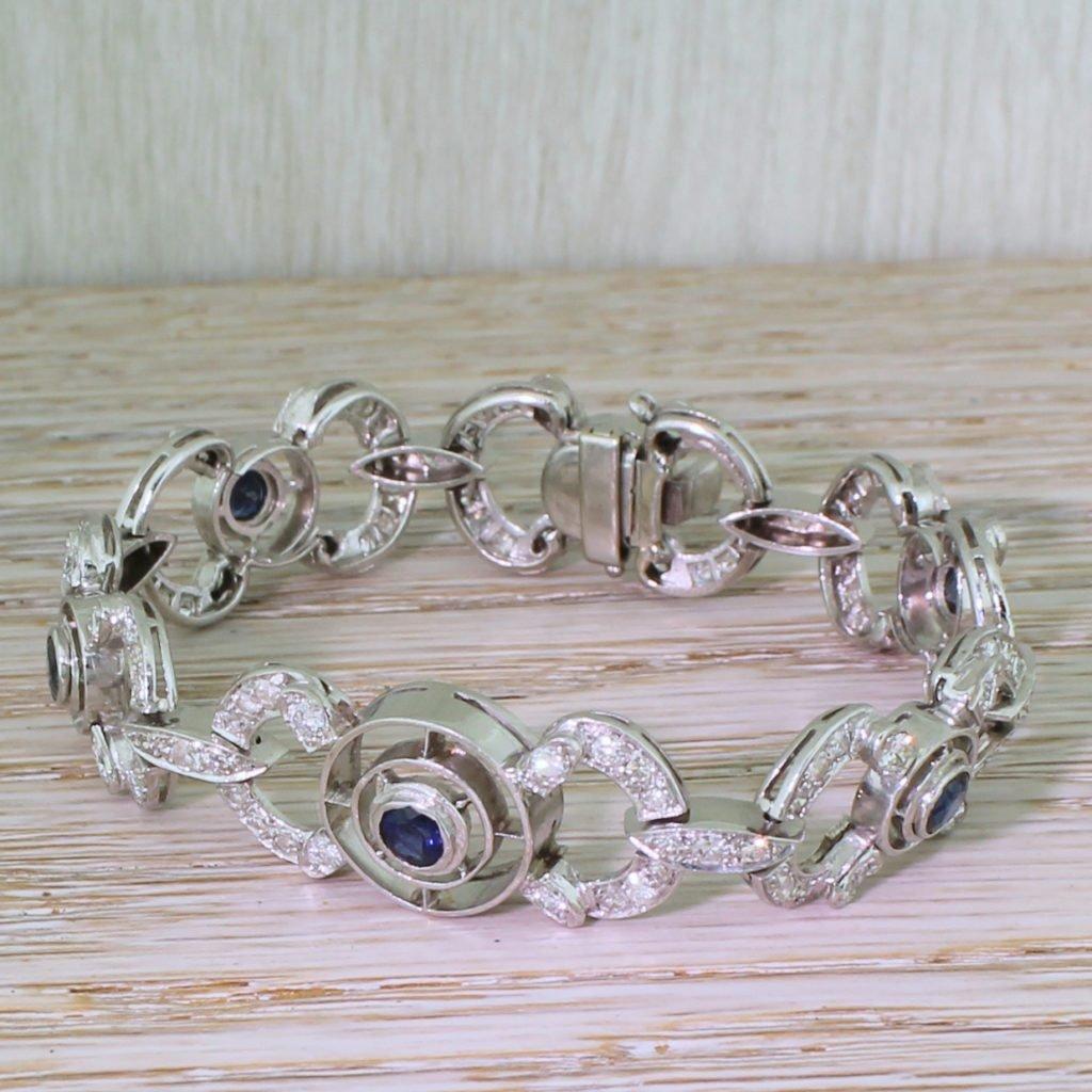 mid century 174 carat sapphire 038 260 carat diamond bracelet circa 1960