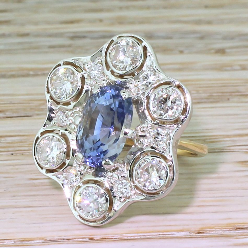 retro 485 carat natural ceylon sapphire 038 168 carat diamond ring circa 1955