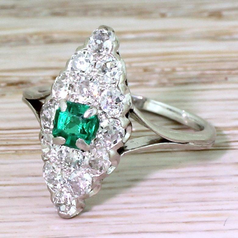 art deco step cut emerald 038 old cut diamond navette ring french circa 1925