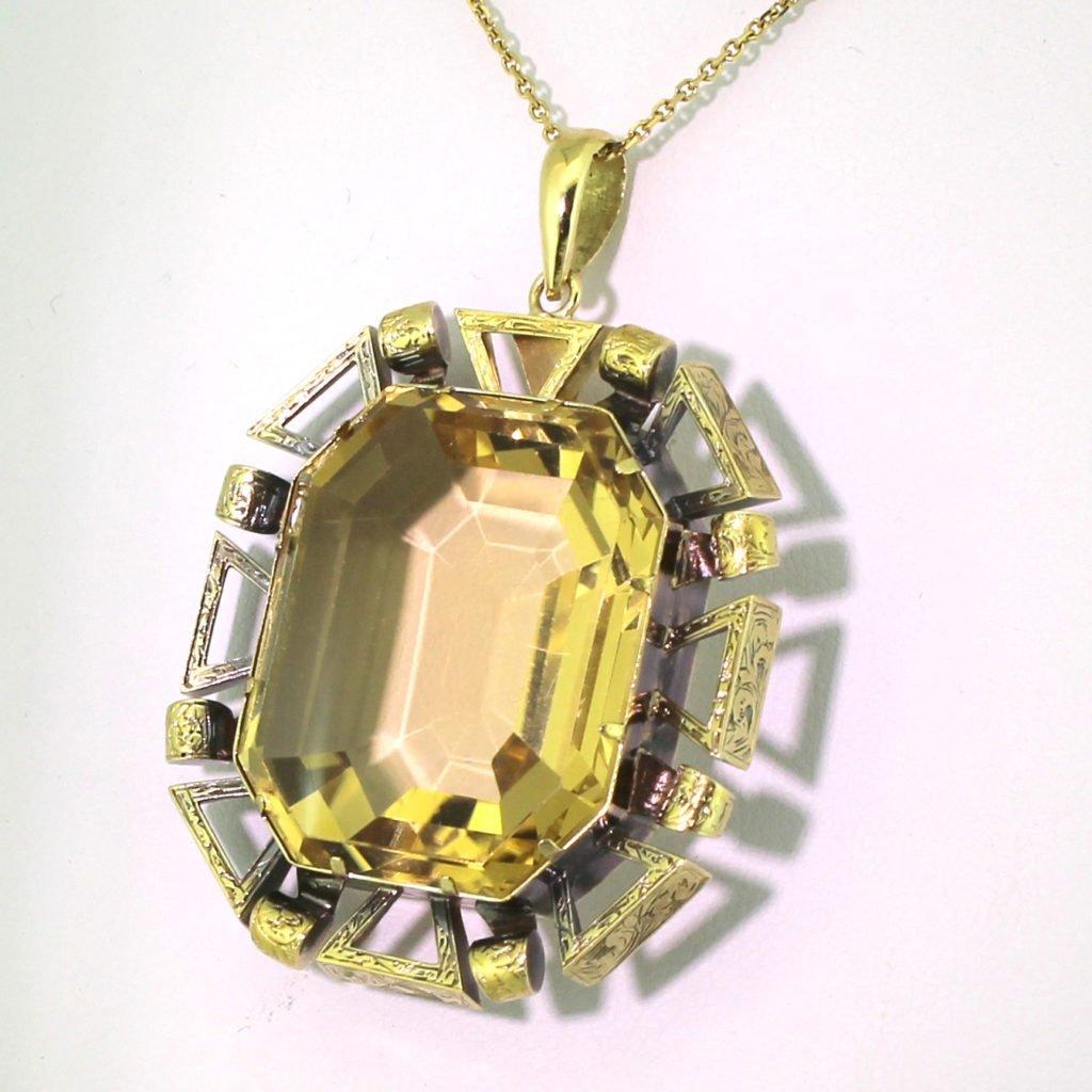 art deco 2500 carat emerald cut citrine pendant circa 1925