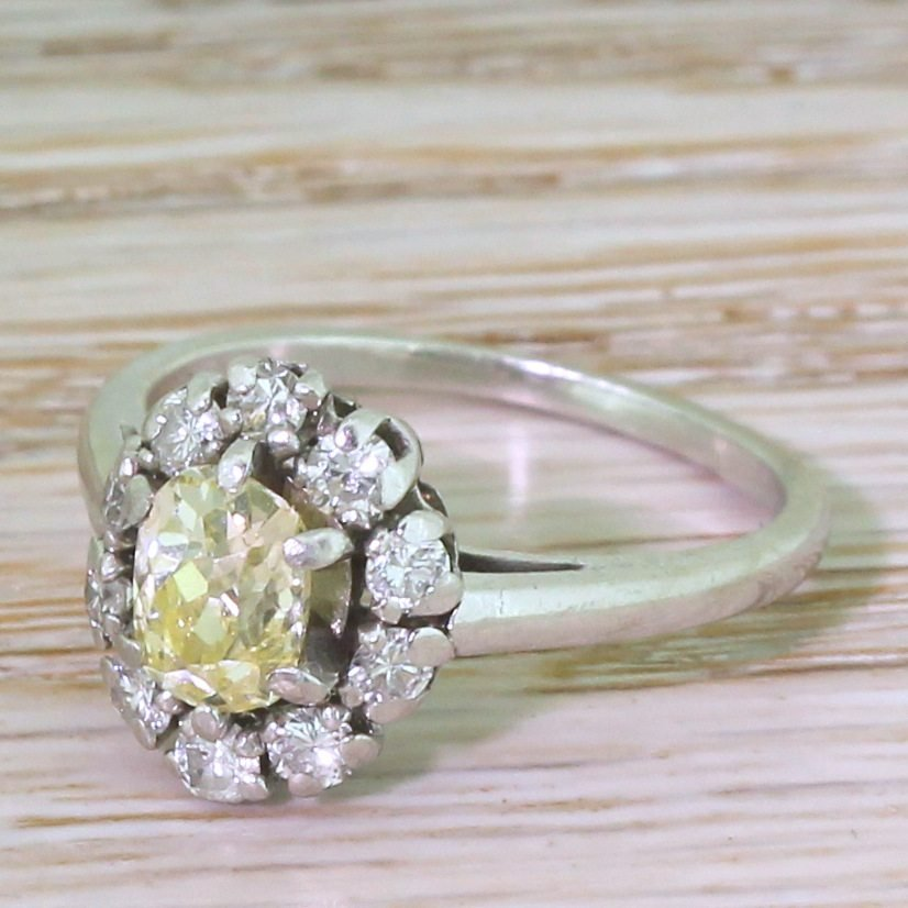 mid century fancy light yellow 038 white diamond cluster ring french 1960