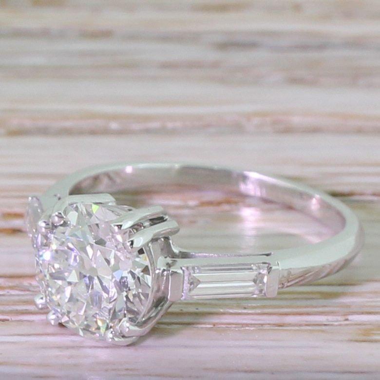 art deco 152 carat old european cut diamond engagement ring french circa 1940