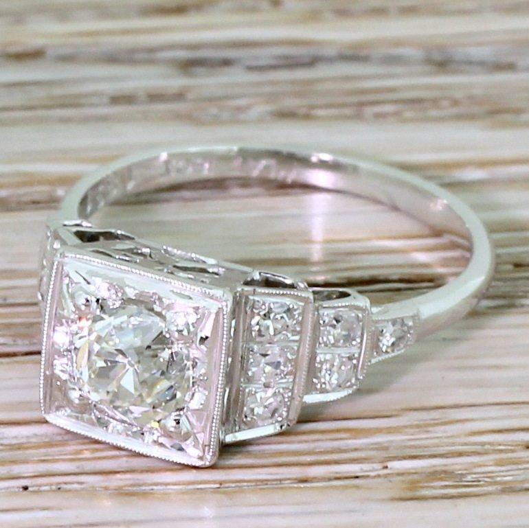mid century 101 carat old cut diamond engagement ring circa 1955