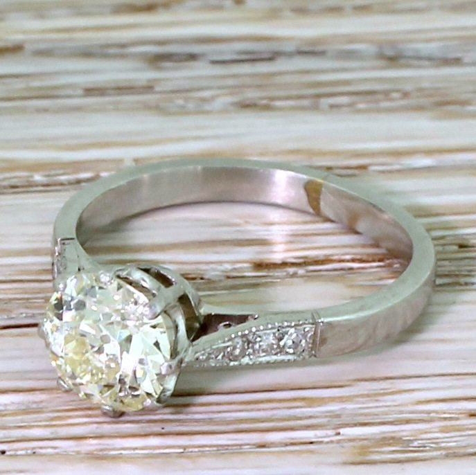 mid century 124 carat light yellow old cut diamond ring circa 1955