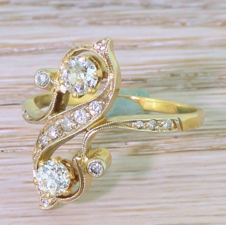 mid century 092 carat old cut diamond 8220nouveau8221 ring french circa 1960