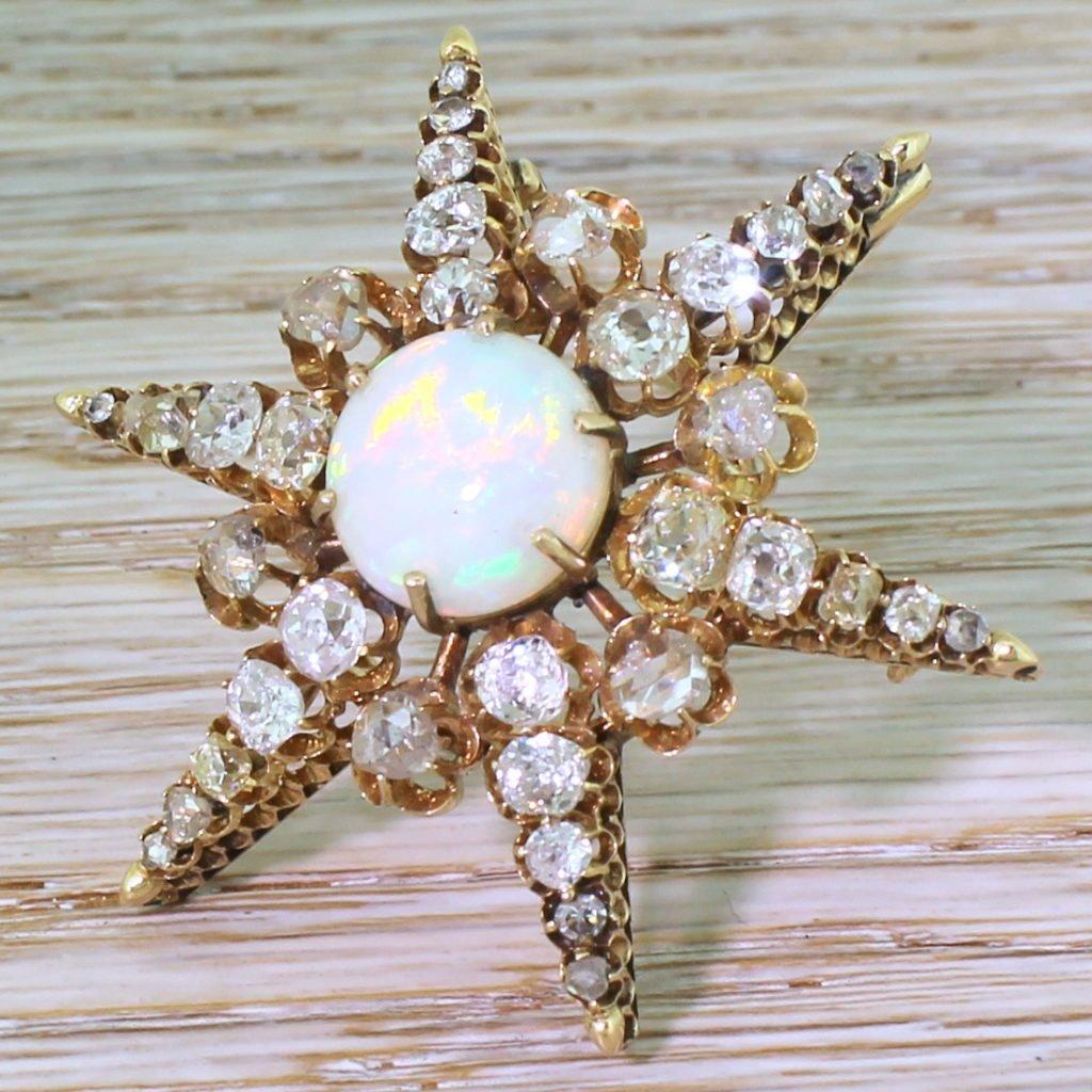 victorian opal old cut diamond 038 rose cut diamond star brooch circa 1880