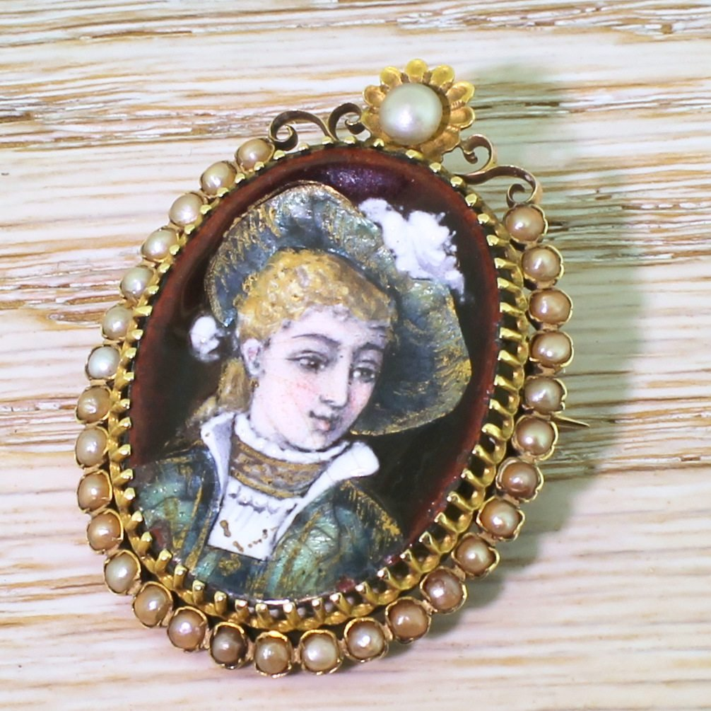 early 20th century natural pearl 038 enamel portrait brooch french circa 1910