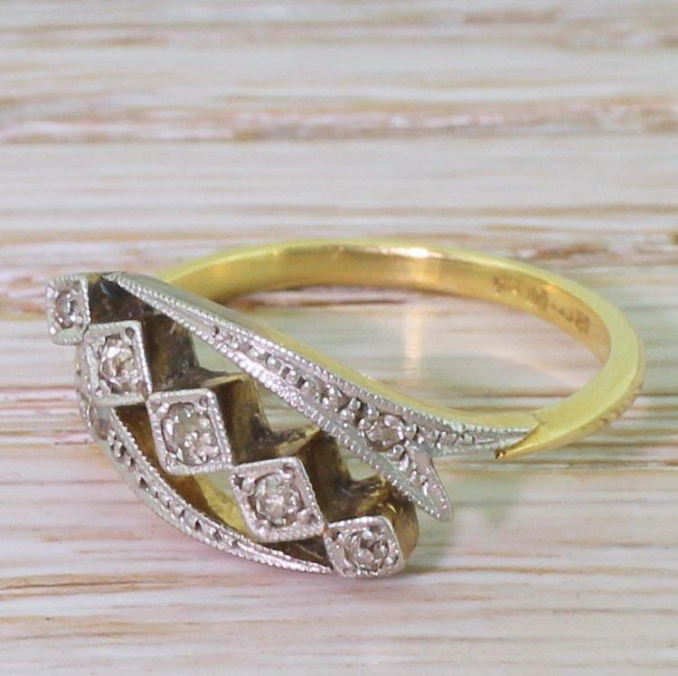 art deco diamond five stone crossover ring circa 1915