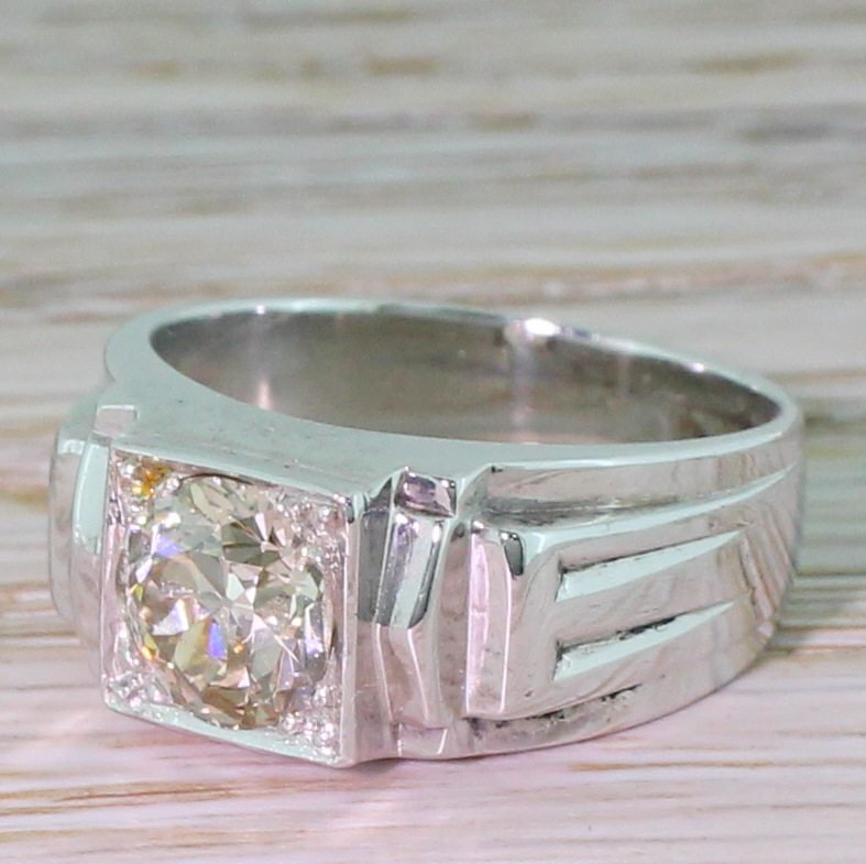 mid century 123 carat old cut diamond solitaire ring french circa 1950
