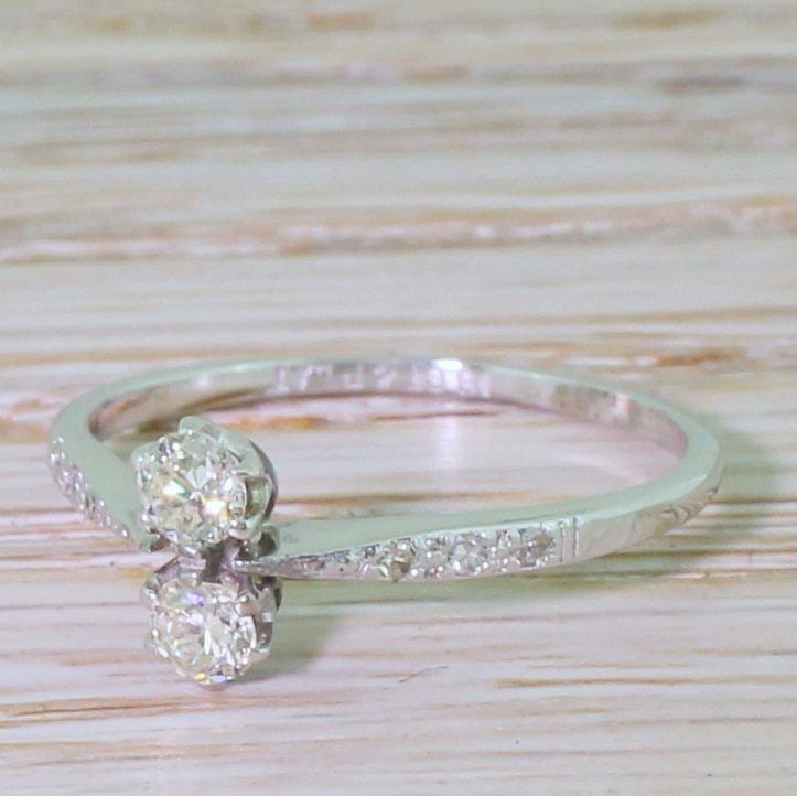 art deco 030 carat old cut diamond toi et moi ring circa 1930