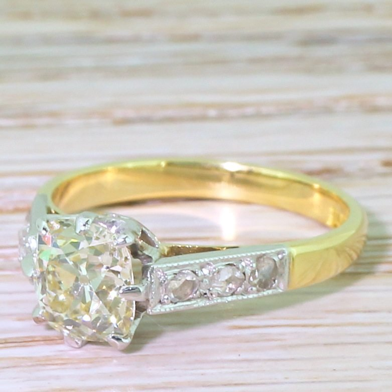 mid century 160 carat old cut diamond engagement ring circa 1950