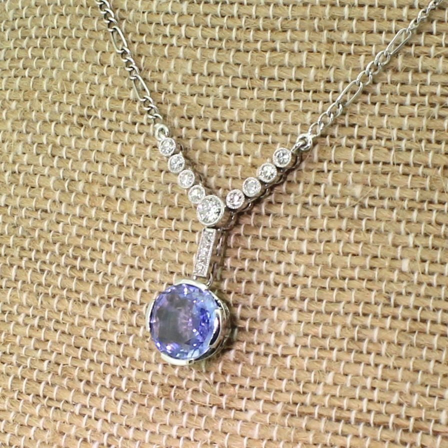 art deco 315 carat sapphire 038 old cut diamond necklace circa 1915