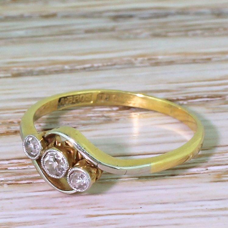 art deco 020 carat old cut diamond trilogy crossover ring circa 1930