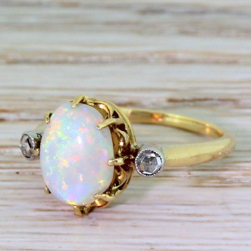 mid century opal 038 rose cut diamond trilogy ring french circa 1960