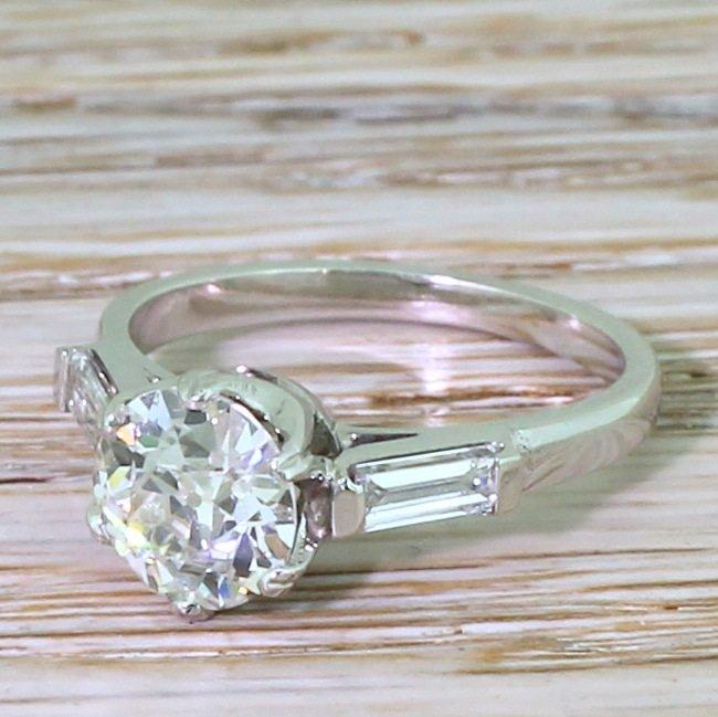 art deco 138 carat old cut diamond solitaire engagement ring circa 1935
