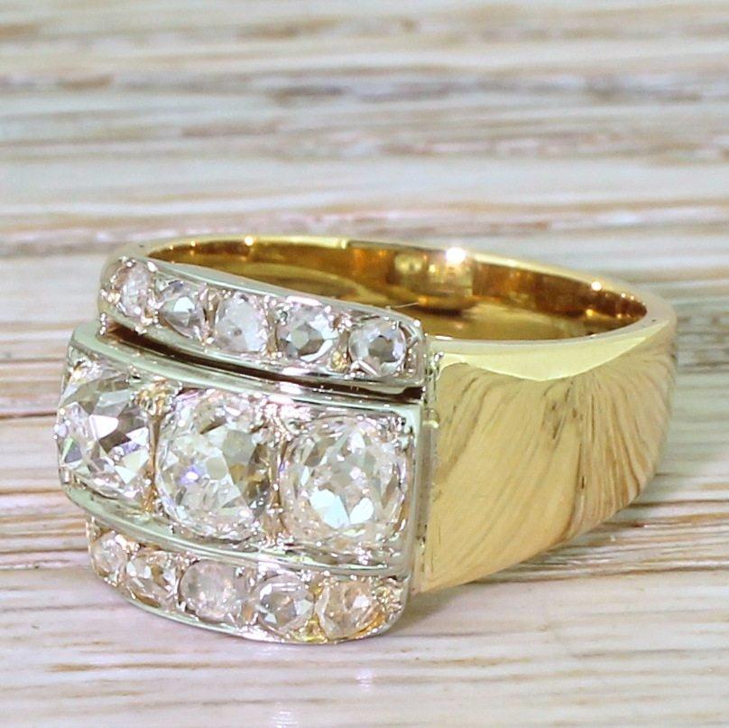 art deco 200 carat old cut 038 rose cut diamond trilogy ring circa 1915