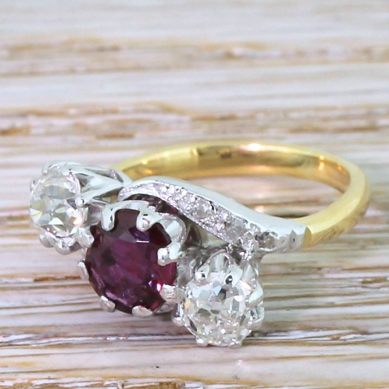 art deco natural ruby 038 old cut diamond trilogy crossover ring circa 1940