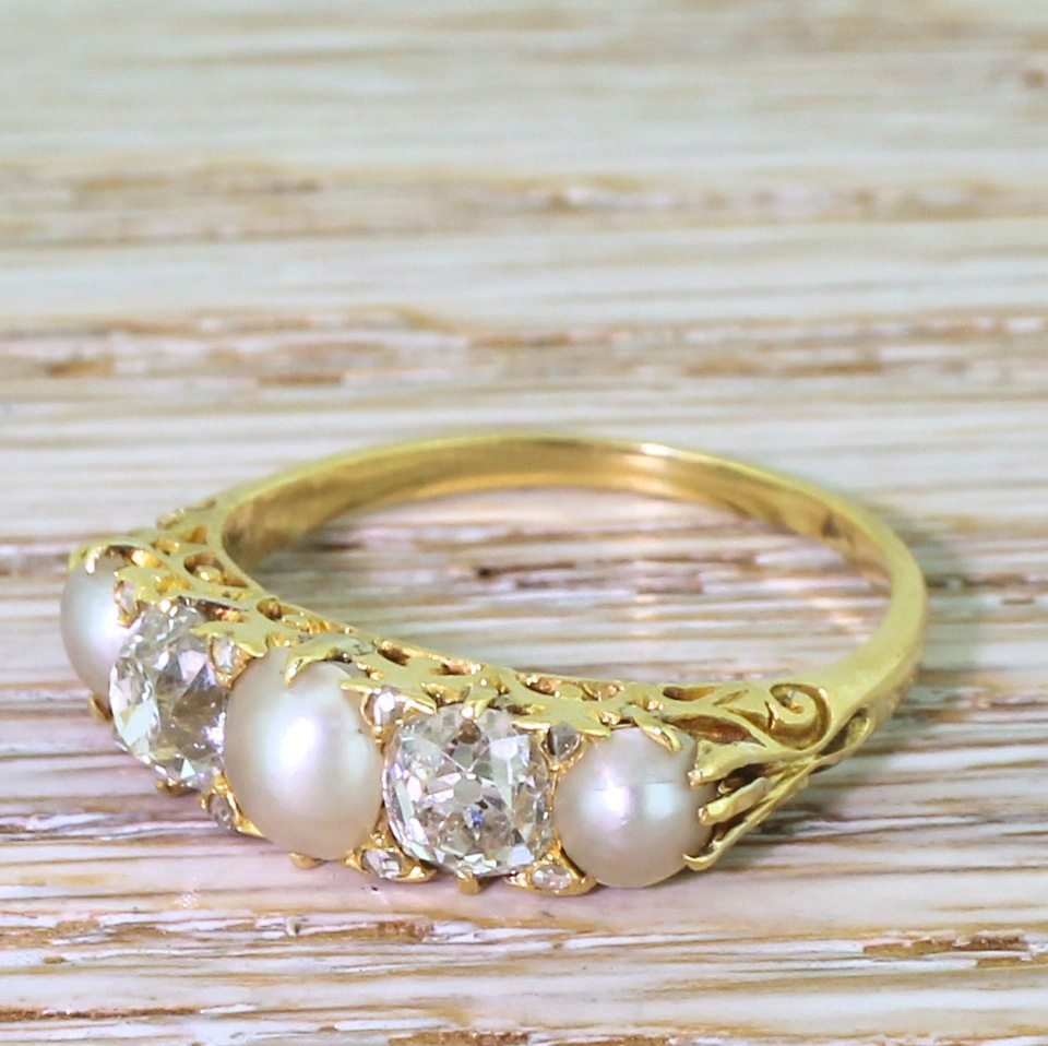 victorian pearl 038 old cut diamond carved half hoop ring circa 1900