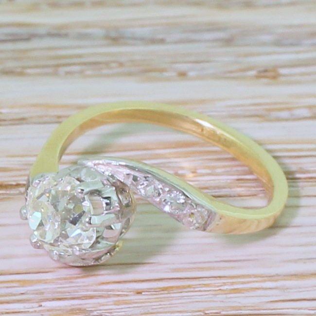 art deco 092 carat old cut diamond crossover solitaire ring circa 1920