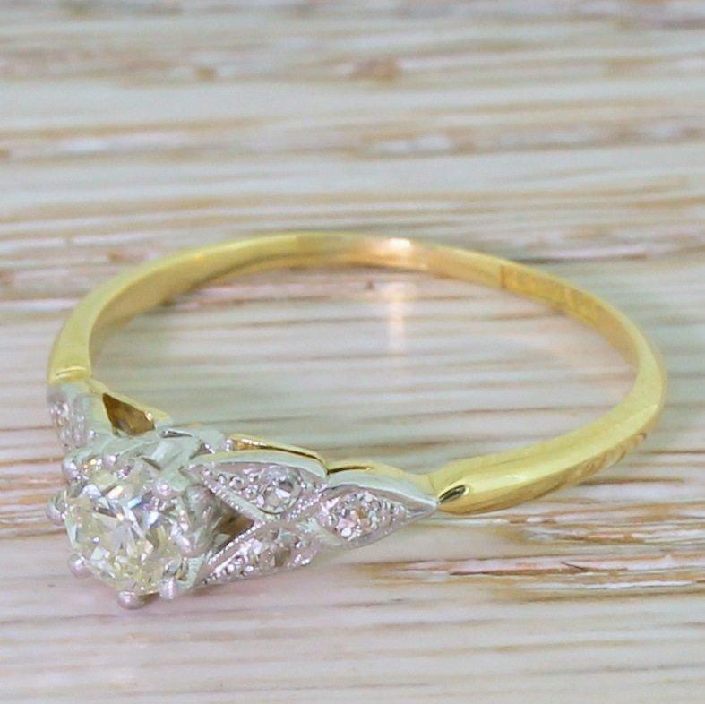 art deco 053 carat old cut diamond engagement ring circa 1915