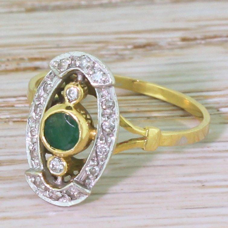 mid century emerald amp diamond cluster ring french circa 1960