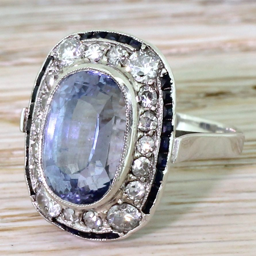 art deco 868 carat natural ceylon sapphire 038 diamond cluster ring circa 1940