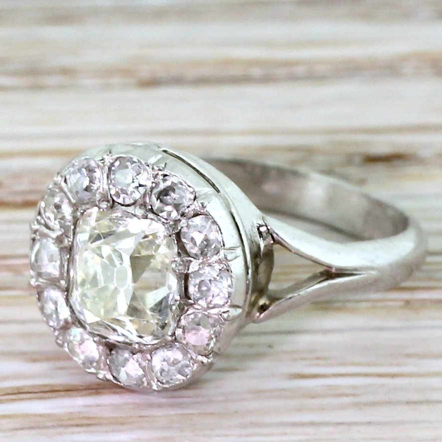 art deco 169 carat old cut diamond cluster ring french circa 1925
