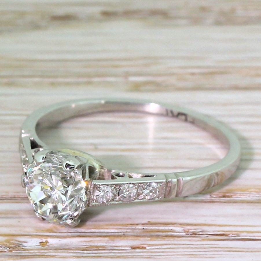 mid century 102 carat transitional cut diamond engagement ring circa 1950