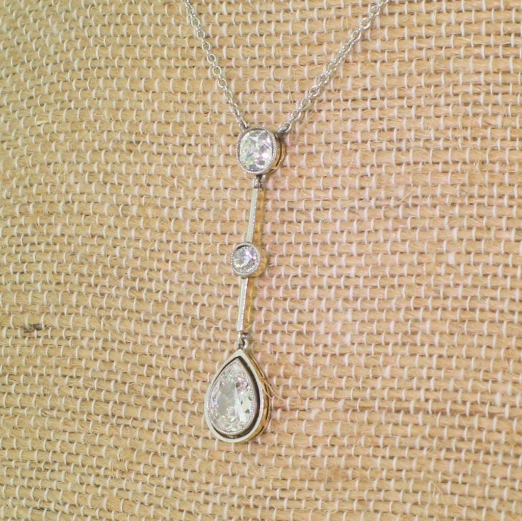 art deco 235 carat old pear 038 mine cut diamond drop pendant circa 1920