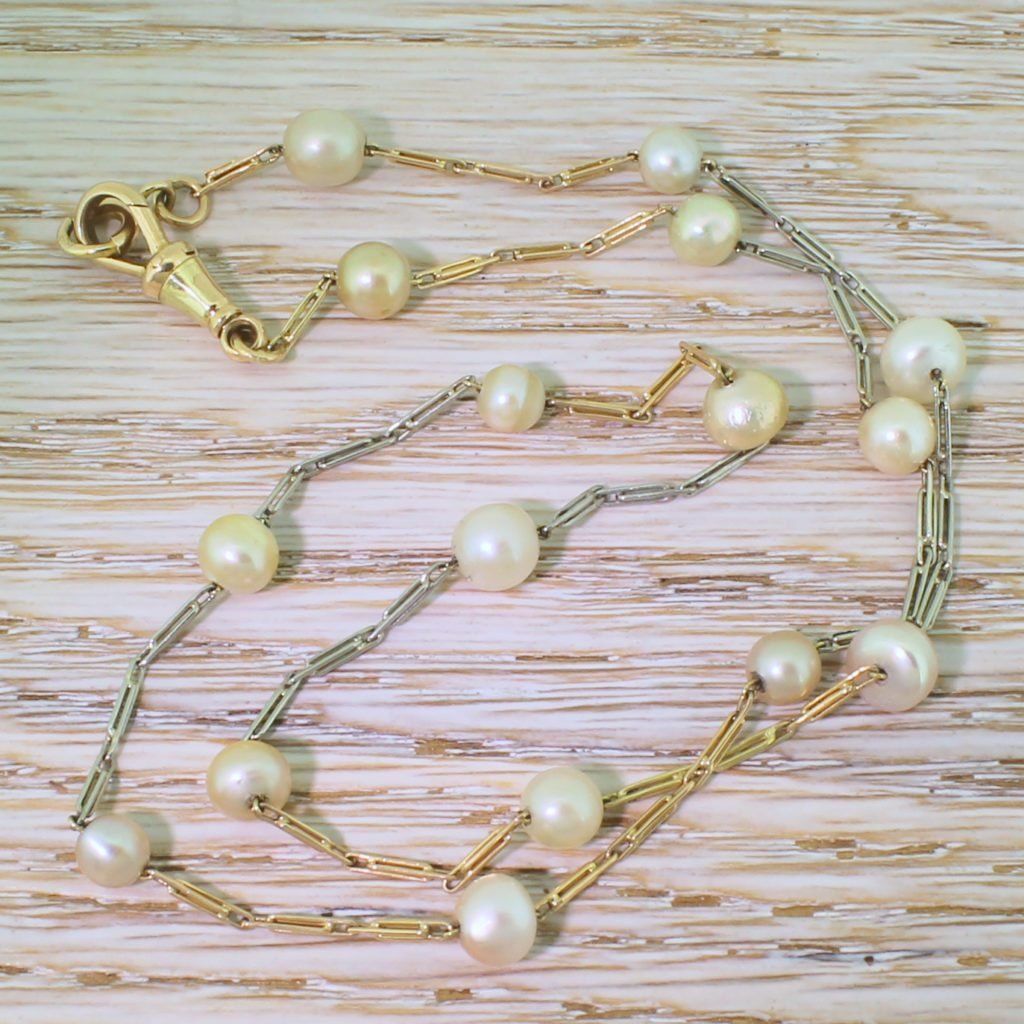 late 20th century natural saltwater pearl chain necklace circa 1970