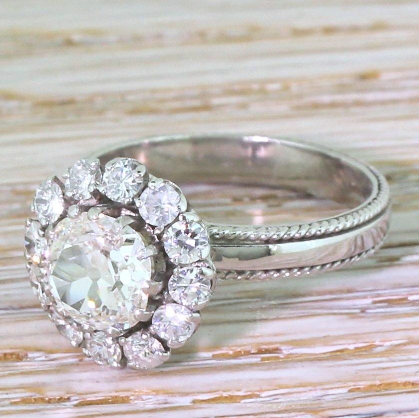 mid century 211 carat old cut diamond cluster ring circa 1965