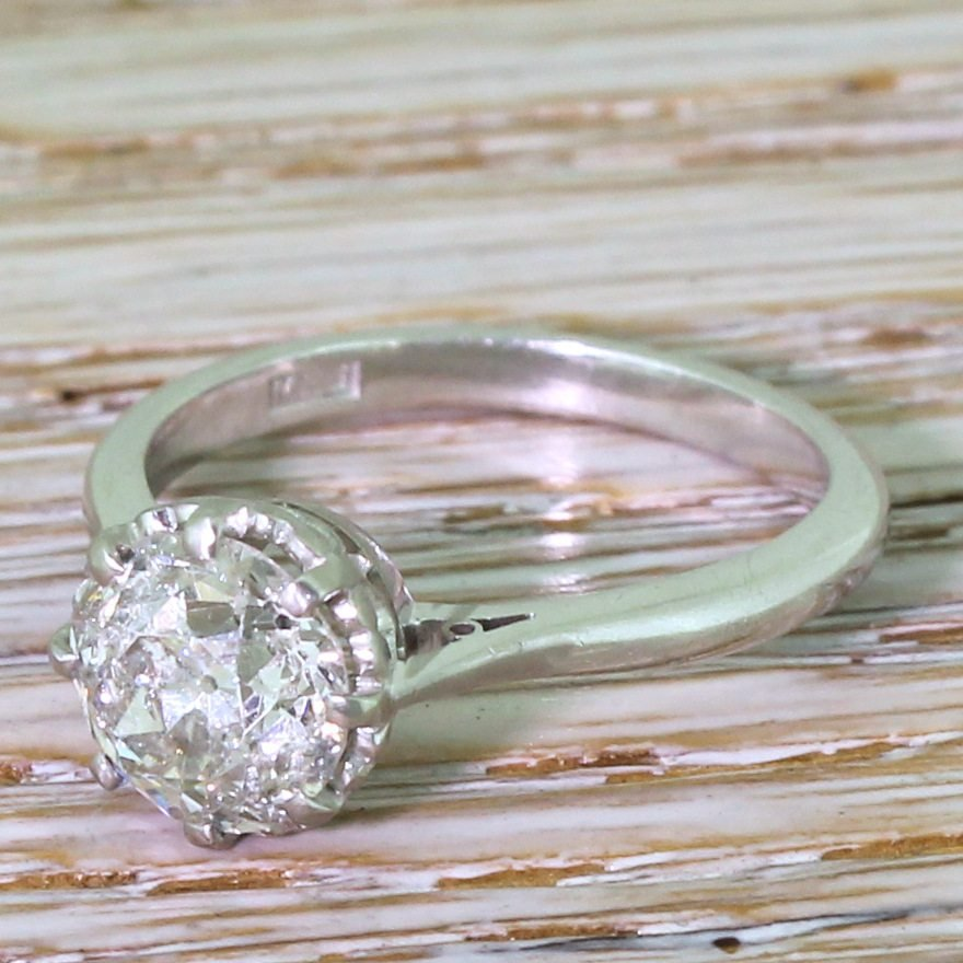 late 20th century 183 carat old cut diamond engagement ring dated 1977