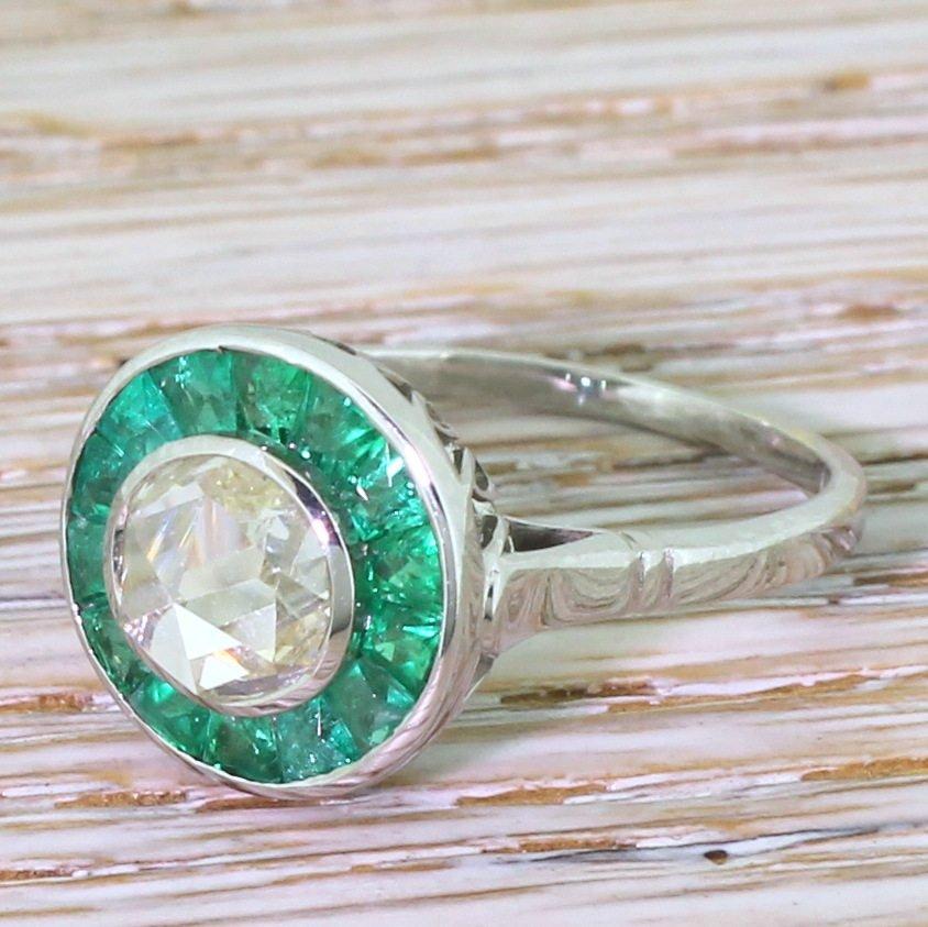 100 carat rose cut diamond 038 emerald target cluster ring 18k white gold