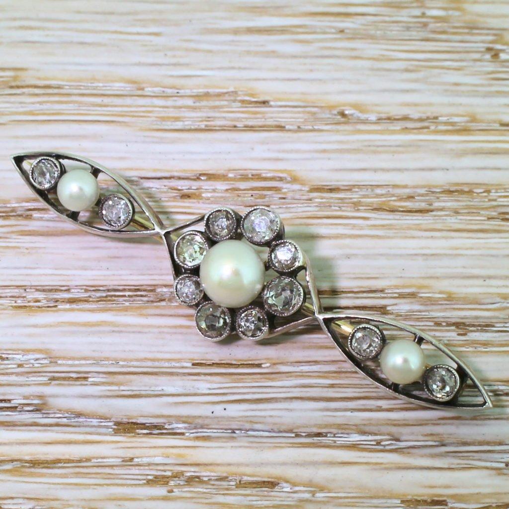 victorian natural pearl 038 old cut diamond brooch circa 1880