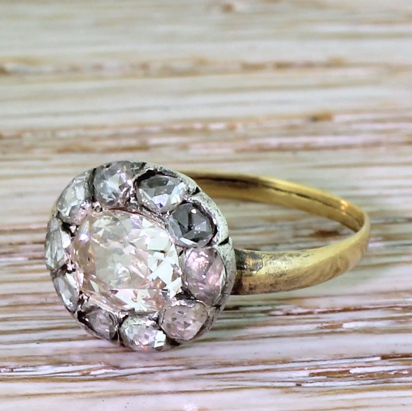 victorian 119 carat old cut 038 rose cut diamond cluster ring circa 1850
