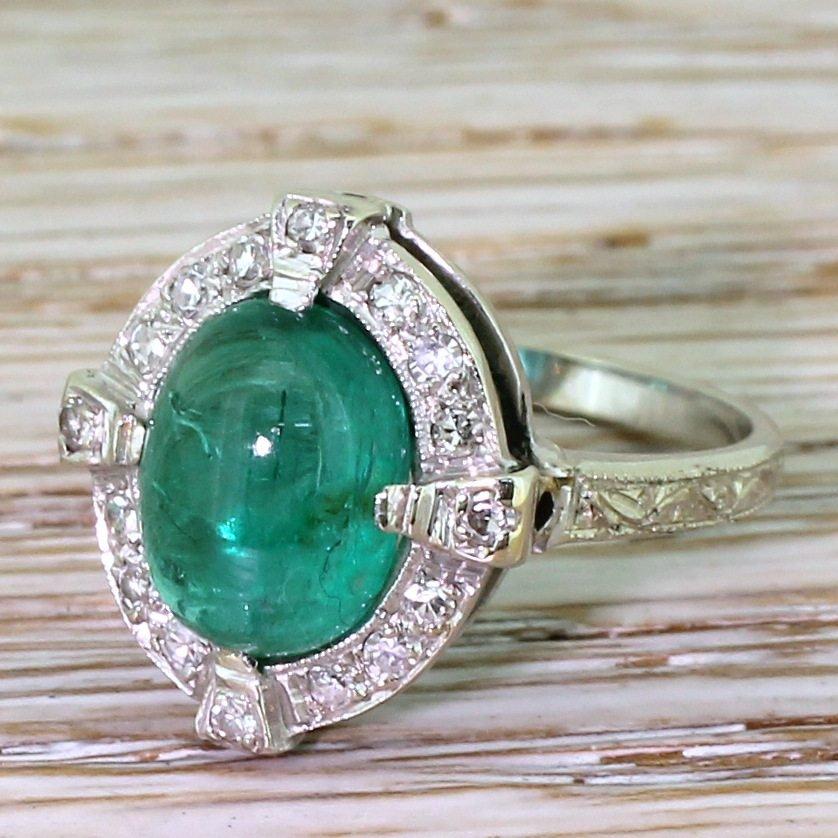 mid century 270 carat cabochon emerald 038 diamond cluster ring circa 1955
