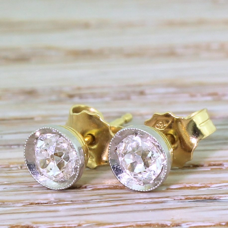 mid century 084 carat old cut diamond stud earrings circa 1960