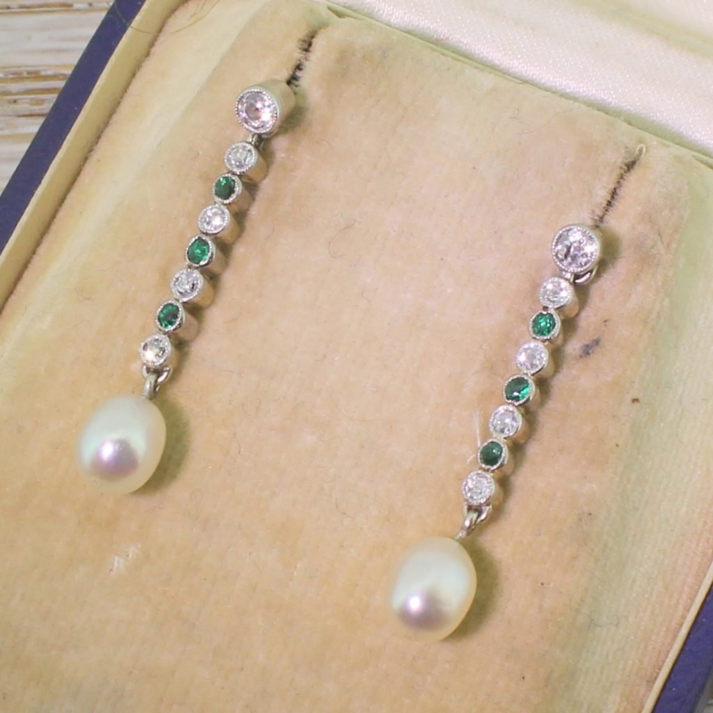 art deco old cut diamond emerald 038 pearl drop earrings circa 1940