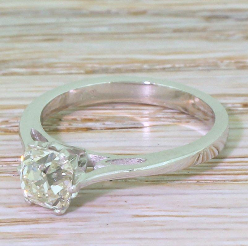 modernist 127 carat old cut diamond engagement ring circa 1960