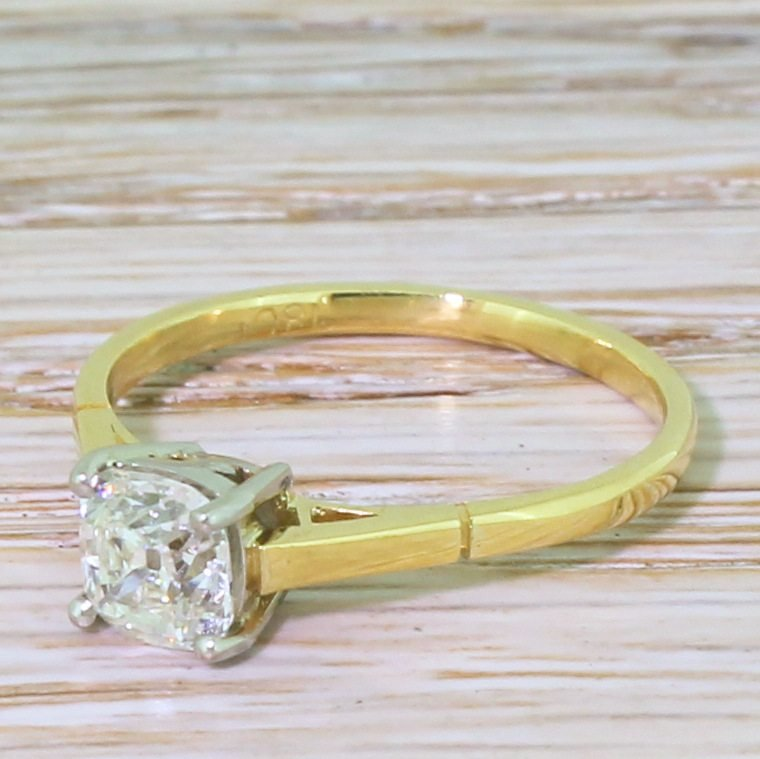 art deco 088 carat old cut diamond engagement ring circa 1935