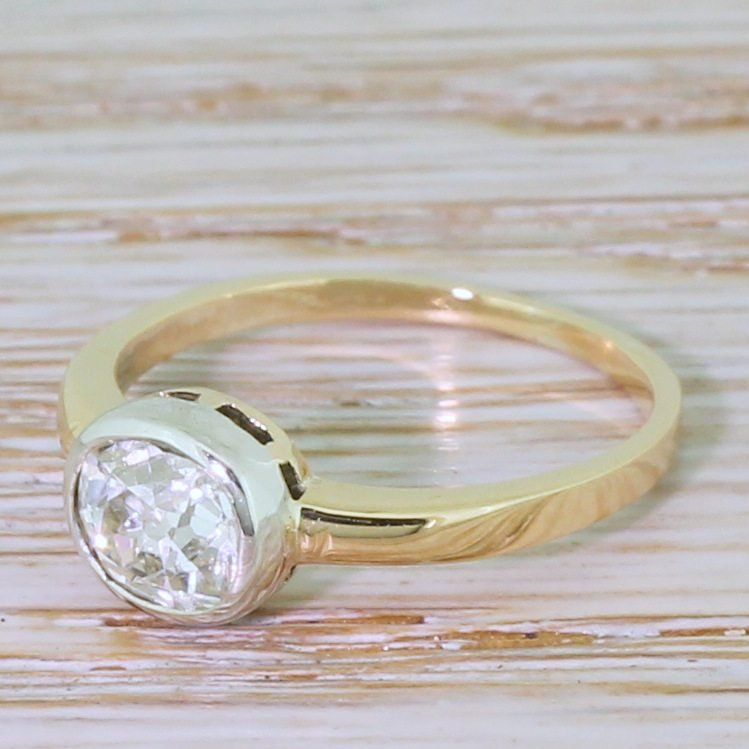 mid century 112 carat old cushion cut diamond solitaire ring circa 1950