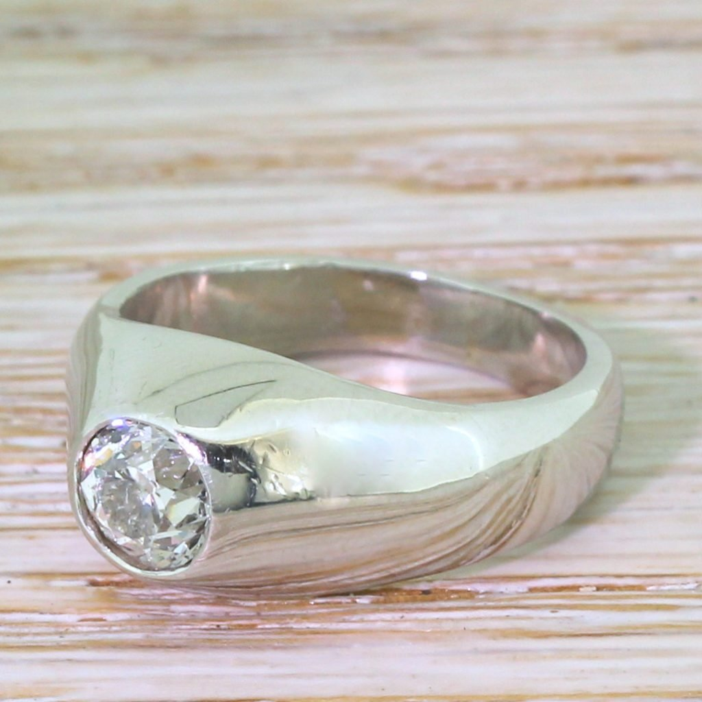 115 carat old cut diamond solitaire ring platinum