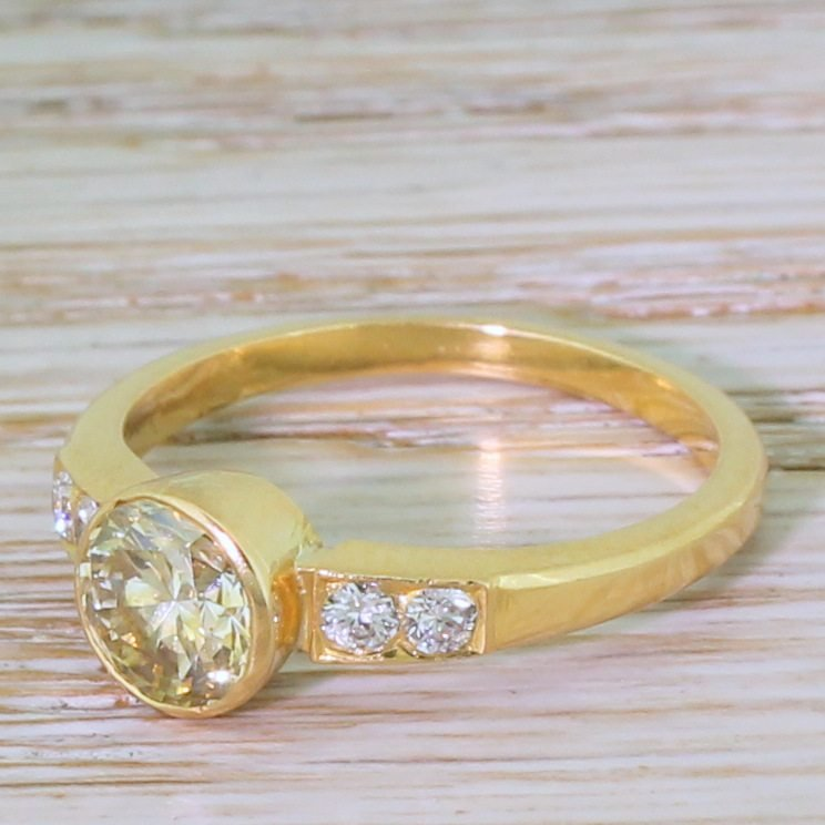 late 20th century 101 carat light yellow brilliant cut diamond ring circa 1975