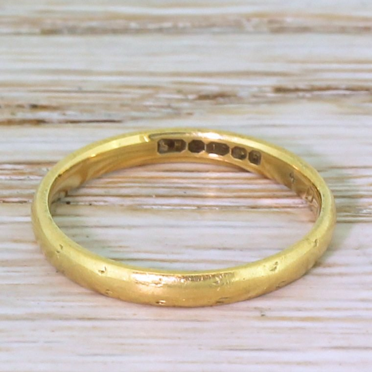mid century 18k yellow gold wedding band dated 1955