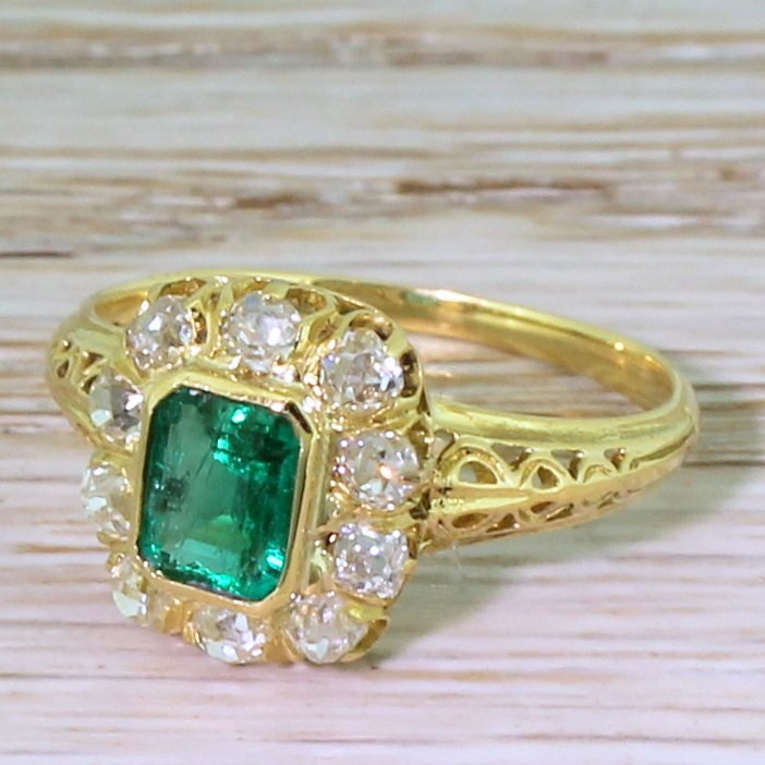 art nouveau 055 carat colombian emerald 038 old cut diamond ring french circa 1915