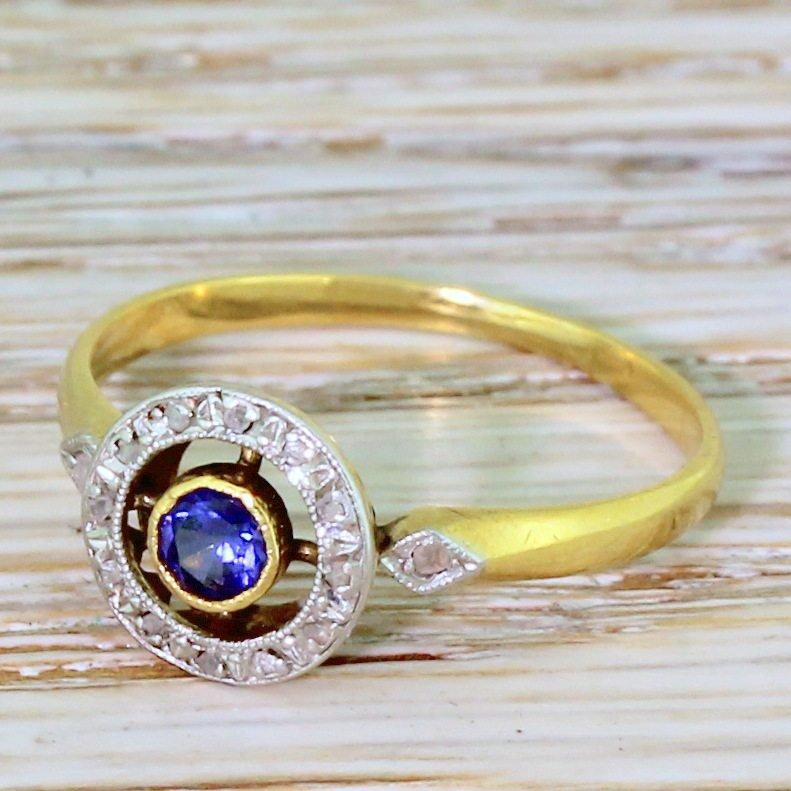 art deco sapphire 038 rose cut diamond target ring french circa 1925