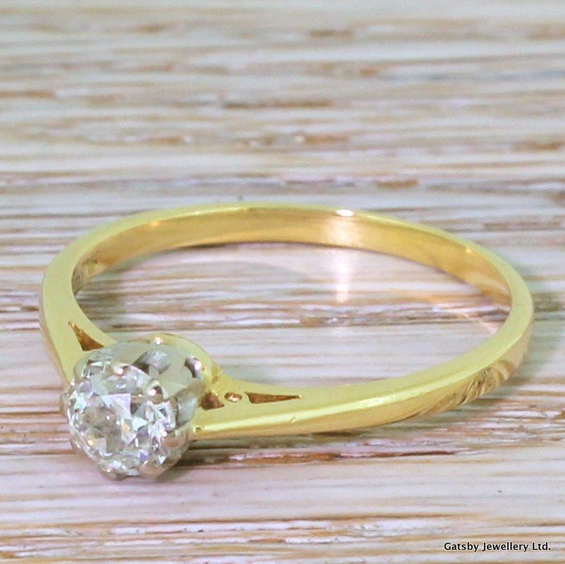 mid century 070 carat old cut diamond engagement ring circa 1965